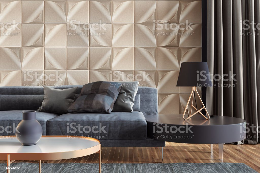 Image of: Luxury Living Room With Gold Wall Tiles And Copy Space Stock Photo Download Image Now Istock