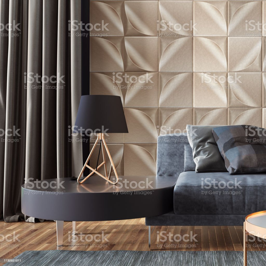 Luxury Living Room With Gold Wall Tiles And Copy Space Stock ...