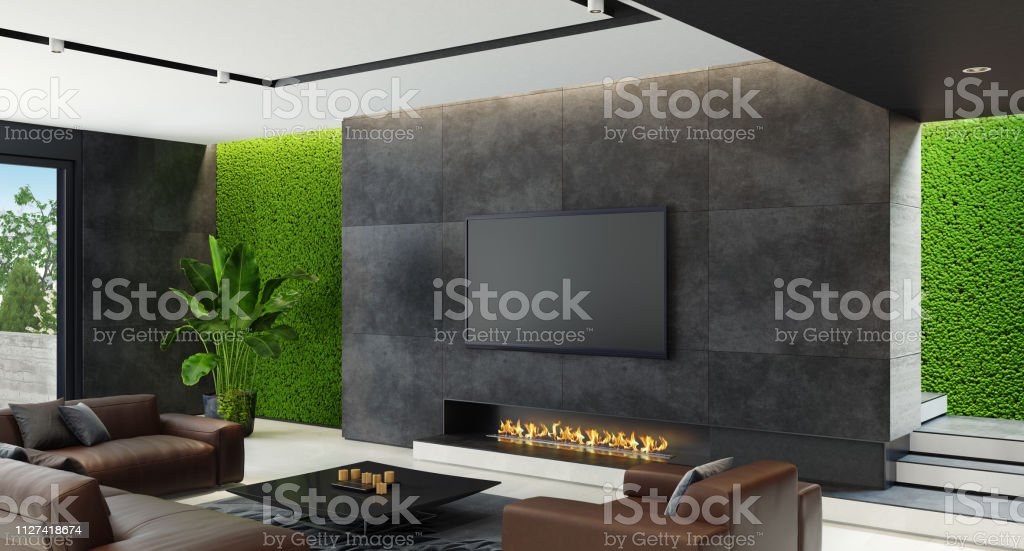 Luxury Living Room With Innovative Green Moss Walls With Eco