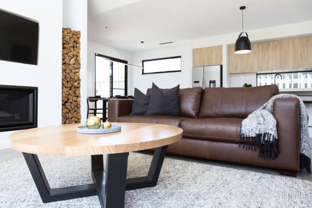 Luxury living room with leather sofa and oak coffee table