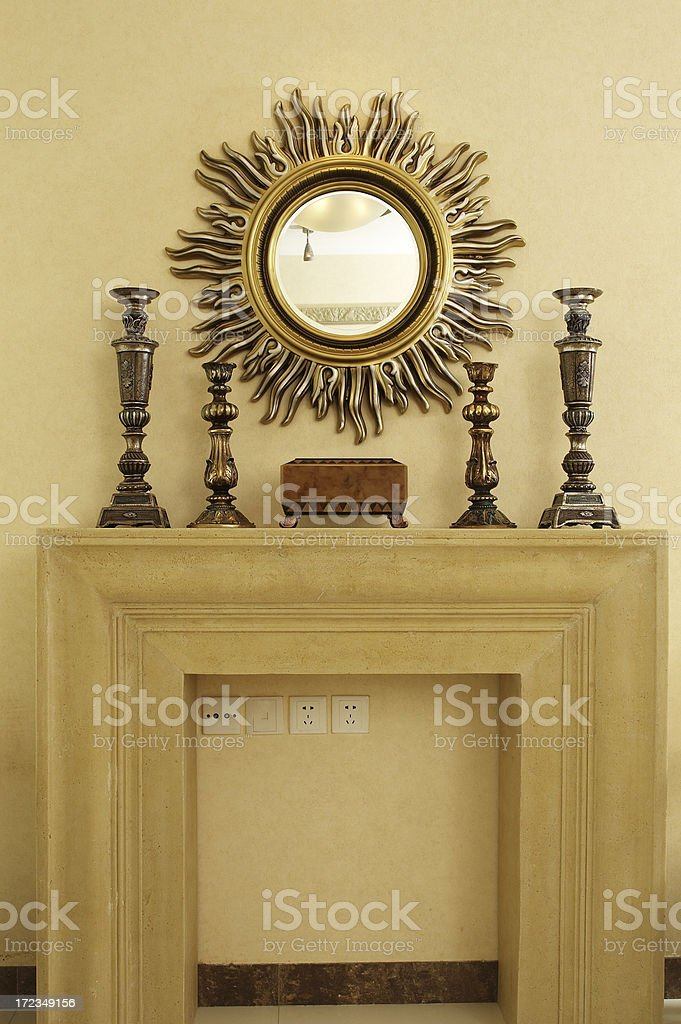 Luxury Living Room with Mantelpiece royalty-free stock photo