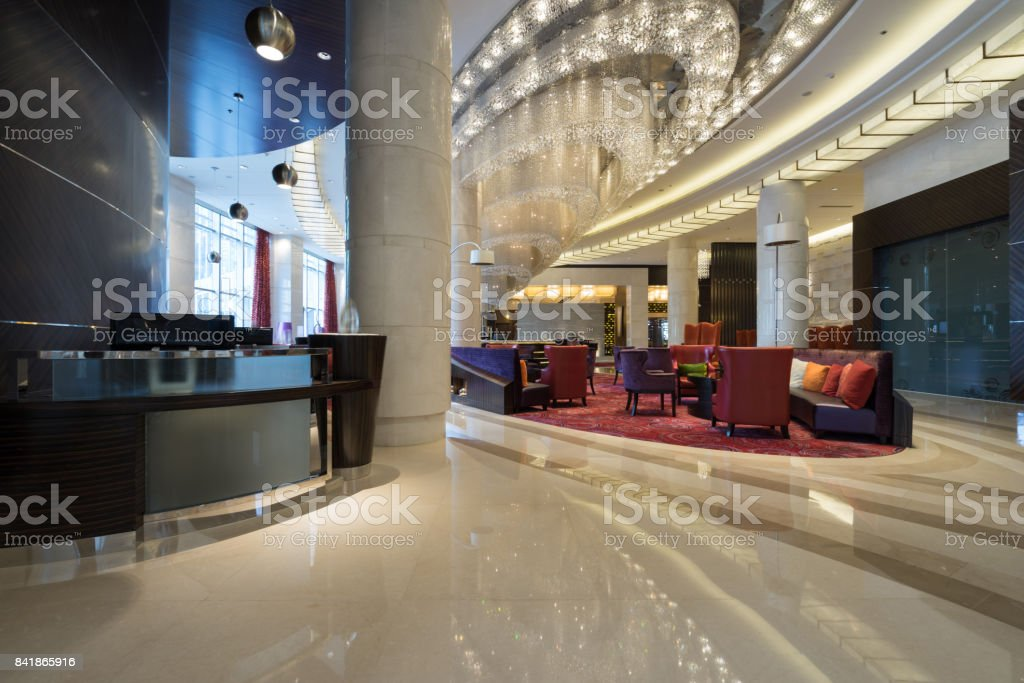 Luxury lobby interior stock photo
