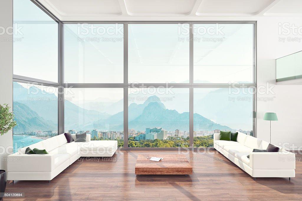 Luxuriöses Wohnzimmer Loft Apartment, Innenansicht - Lizenzfrei Architektur Stock-Foto
