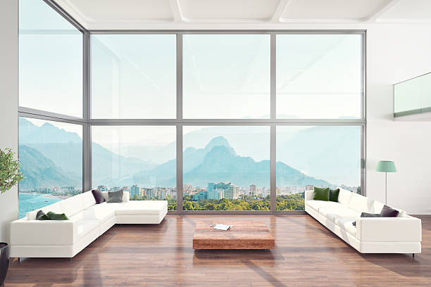 Loft de luxo, apartamento de interiores de sala de estar - foto de acervo