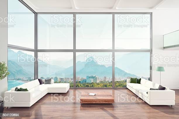 Luxuriöses Wohnzimmer Loft Apartment Innenansicht Stockfoto und mehr Bilder von Architektur