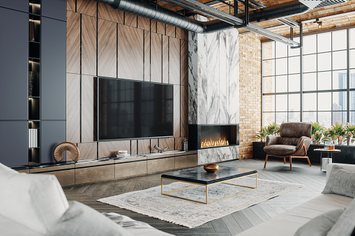 Interior of a luxury loft living room with city view.