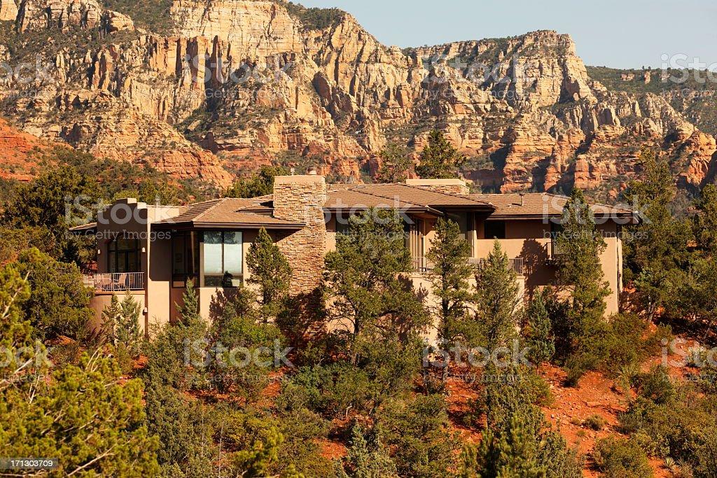 Luxury Mansion Desert Canyon Villa stock photo