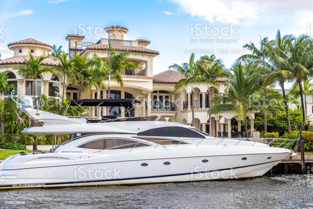 Luxury mansion in exclusive part of Fort Lauderdale stock photo