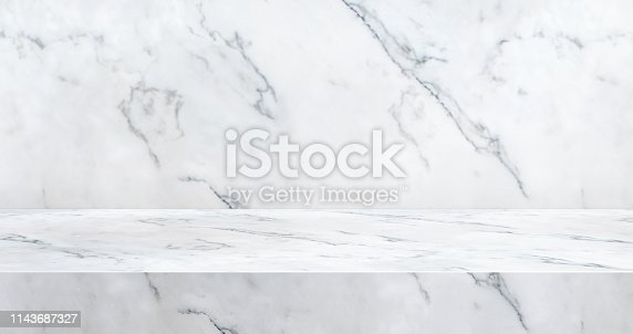 istock 3D luxury marble table studio background textured for product display with copy space for display of content design.Banner for advertise product on website.3d rendering 1143687327