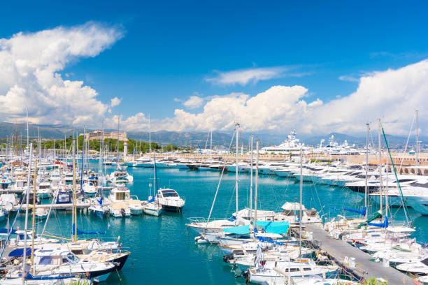 Luxury marina in Antibes on french riviera, cote d`azur, France stock photo