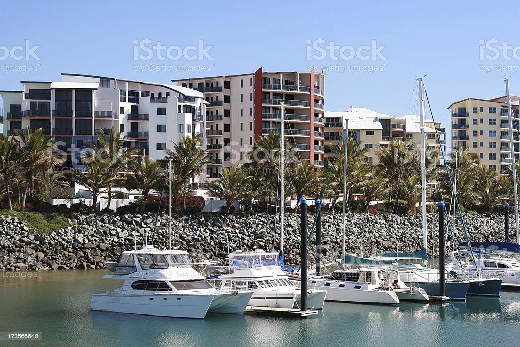 Luxury Marina Lifestyle with apartment buildings stock photo