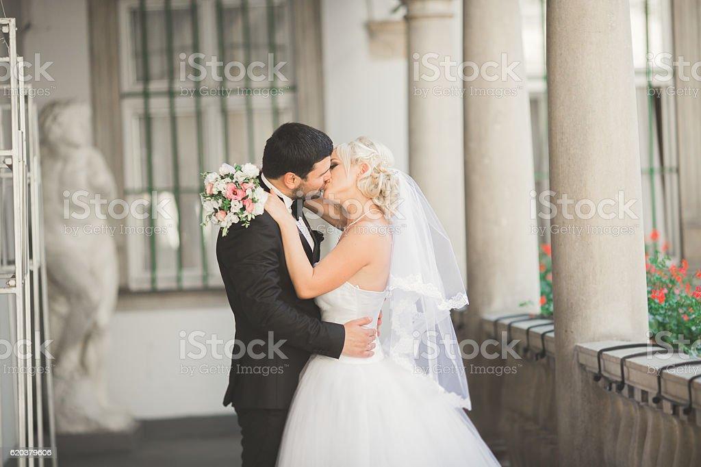 Luksusowe mąż wesele para, Młoda para pozujący w stary zbiór zdjęć royalty-free