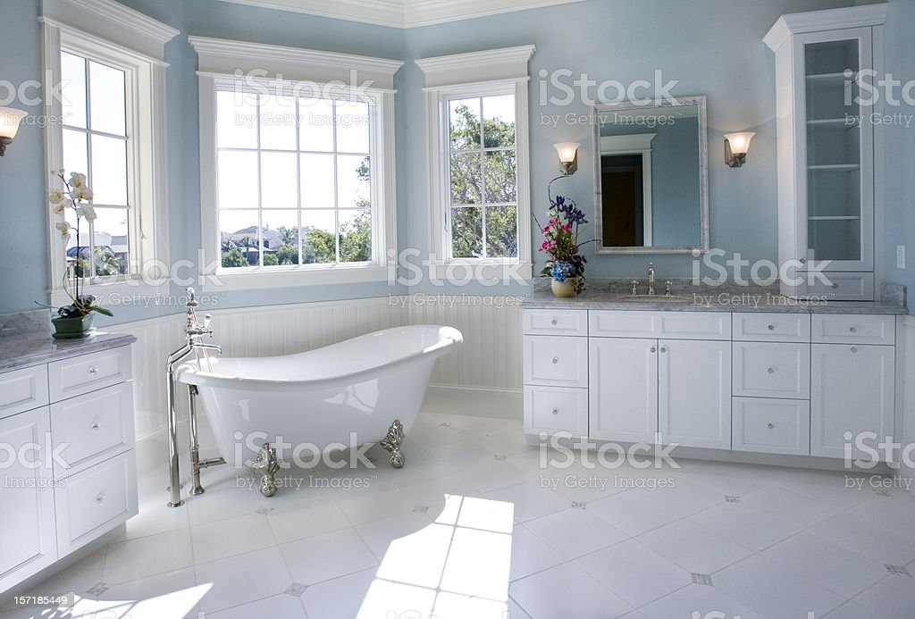 Luxury Master Bathroom with Free Standing Bath Tub stock photo