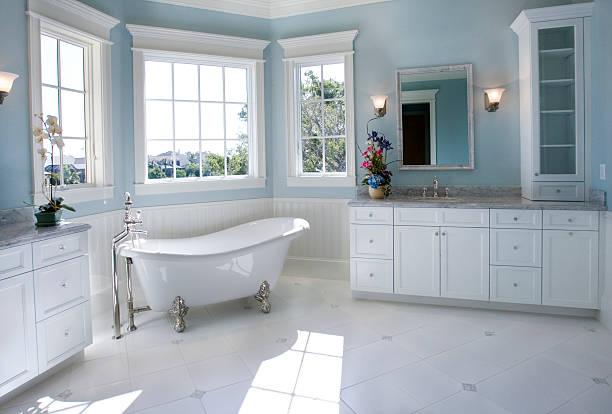 Luxury Master Bathroom with Free Standing Bath Tub stock photo