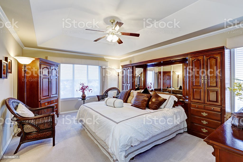 Luxury master bedroom interior stock photo
