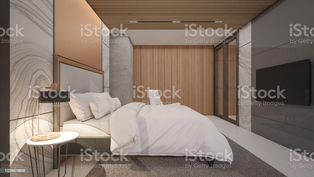 Luxus Schlafzimmer Mit Marmor Und Kupfer Wand Im Hotel, 3D Rendering  Lizenzfreies Stock