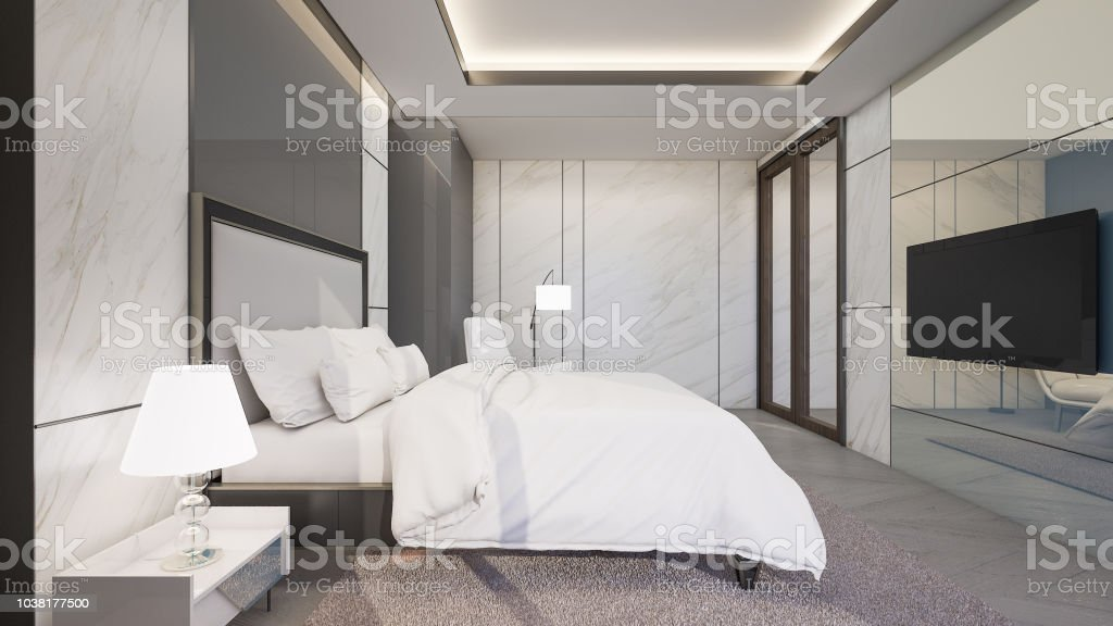 Luxury Master Bedroom With Marble Tiles Wall 3d Rendering Stock Photo -  Download Image Now