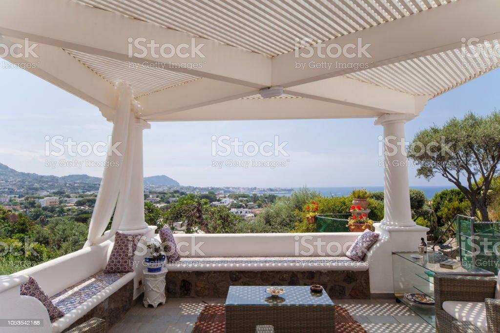 Luxury mediterranean style patio, photo taken in Italy.