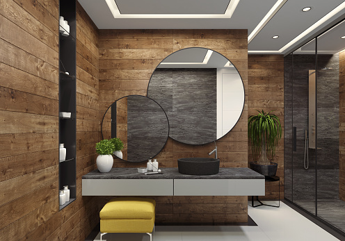 luxury minimalist bathroom with wooden walls and large