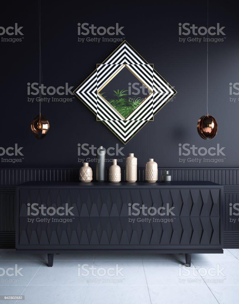 Luxury minimalist dark living room interior with commode,vases, chandeliers and mirror stock photo