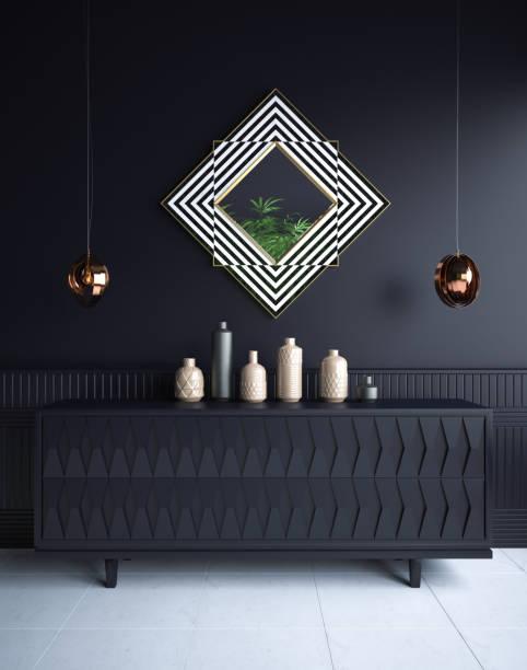 luxus minimalistisch dunklen wohnzimmer interieur mit kommode, spiegel, vasen und leuchter - schick moderne schlafzimmer stock-fotos und bilder