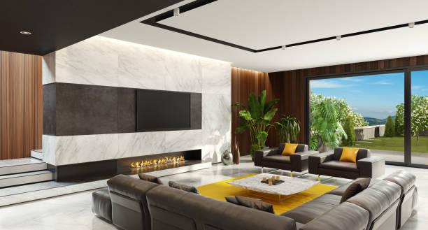 Luxus minimalistisch Wohnzimmer mit Eco Kamin – Foto