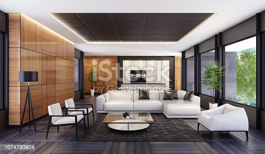 istock Luxury minimalist open space living room with kitchen and dining 1074730924