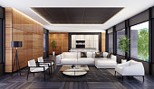 Luxury minimalist open space living room with kitchen and dining