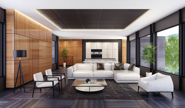 Luxury minimalist open space living room with kitchen and dining white leather sofa, white chairs and armchair, glass and marble coffee table, black lamp and black leather carpet with geometric pattern in front. Dining area with white dining table and white dining chairs. White kitchen island with black stone finish, white wooden kitchen cabinets with glossy finish,black appliances. walls finishing are wooden glossy large panels and black leather.  floor finish is natural grey stone. white ceiling with strip cove lighting and embedded spotlights and black leather panels. penthouse stock pictures, royalty-free photos & images