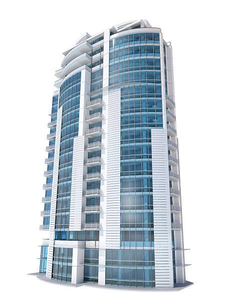 Luxuriöse moderne Apartments und Bürogebäude, isoliert auf weißem Hintergrund – Foto