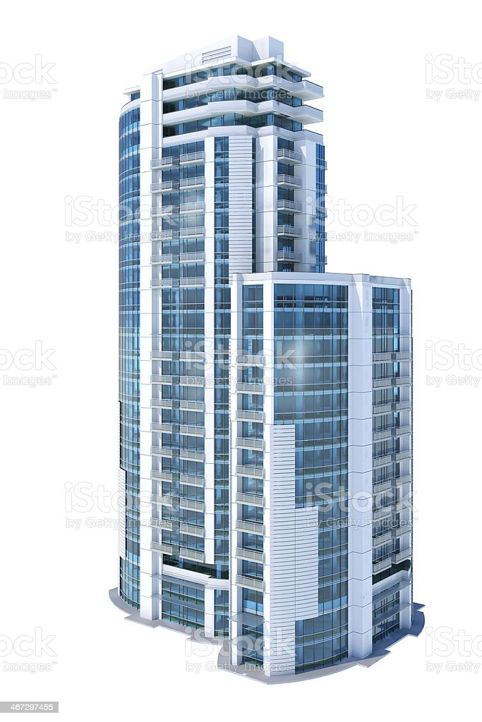 Luxury modern apartment and office building, isolated on white background stock photo