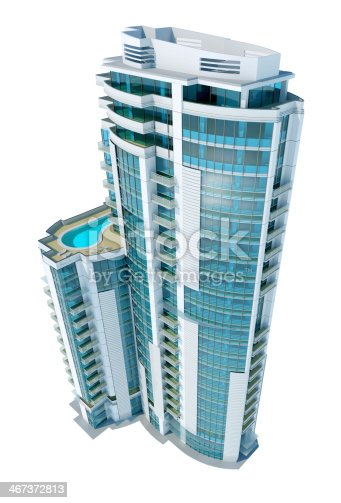 585292106 istock photo Luxury modern apartment and office building, isolated on white background 467372813