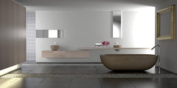 luxuriöses, modernes badezimmer - badezimmermöbel holz stock-fotos und bilder