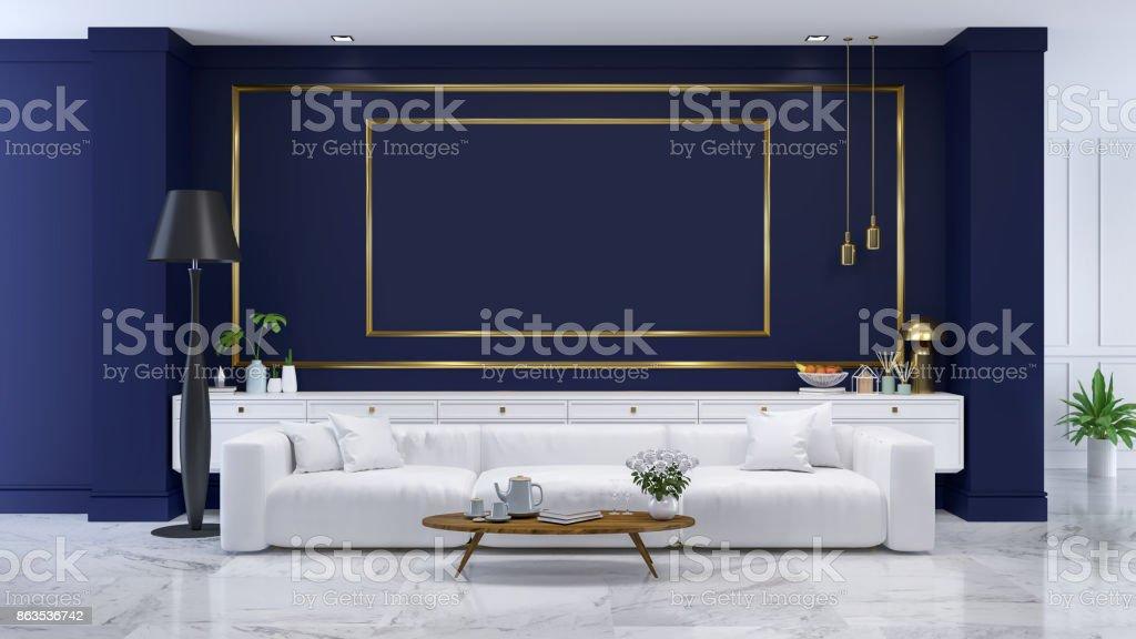 Photo libre de droit de Luxe Moderne Chambre Bleue Intérieur Blanc ...