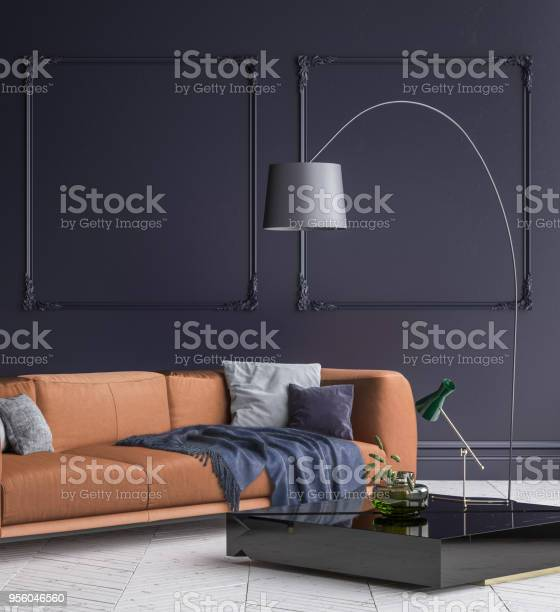Luxury Modern Dark Blue Living Room Interior With White Parquet Floor Brown Sofa Floor Lamp And Coffee Table Stock Photo Download Image Now Istock