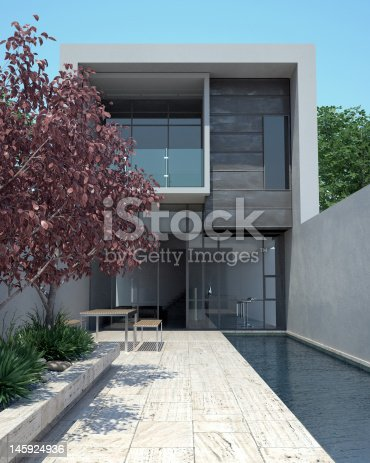 istock Luxury modern home with pool 145924936