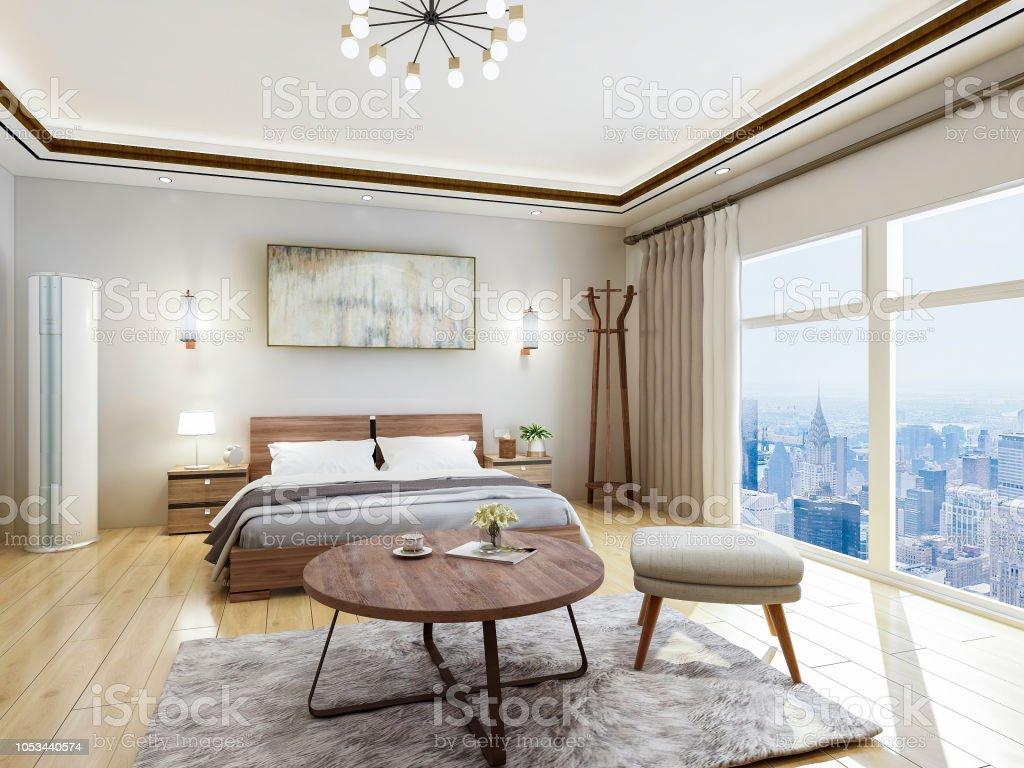 Superbe Luxus Modern Hotel Schlafzimmer Design Renderings, Doppelbett Mit Vom Boden  Bis Zur Decke Reichenden
