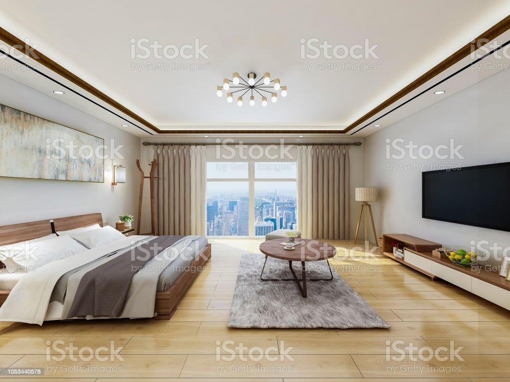 Luxus Modern Hotel Schlafzimmer Design Renderings, Doppelbett Mit Vom Boden  Bis Zur Decke Reichenden