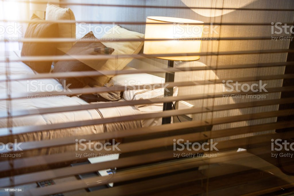 Luxury modern Hotel Room with laptop royalty-free stock photo