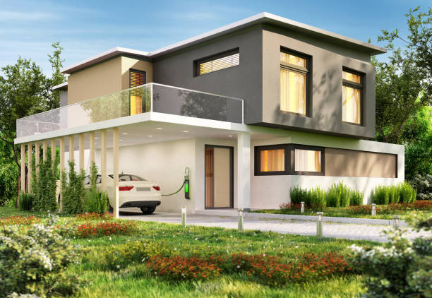 Luxury modern house and electric car Luxury big modern house and electric car alternative fuel vehicle stock pictures, royalty-free photos & images