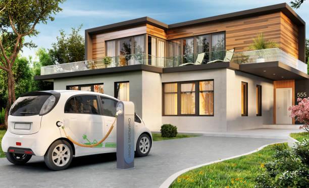 luxury modern house and electric car - macchina ibrida foto e immagini stock