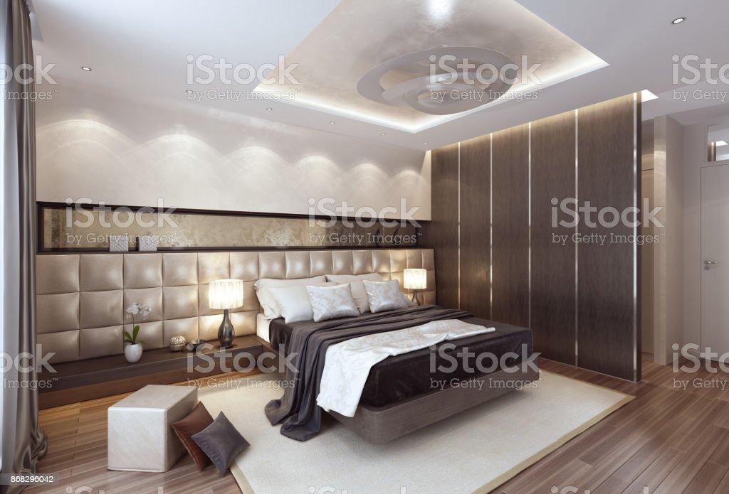 Luxus modernen Interieur Schlafzimmer mit großem Bett. – Foto