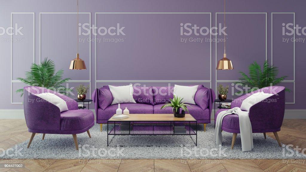 Luxury Modern Interior Of Living Room Ultraviolet Home Decor ...