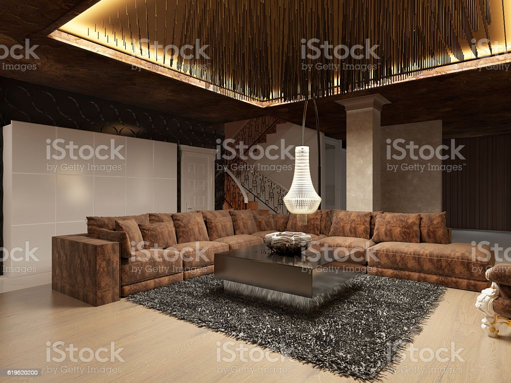 Luxury Modern Living Room Done In The Art Deco Style Stock Photo - Download  Image Now