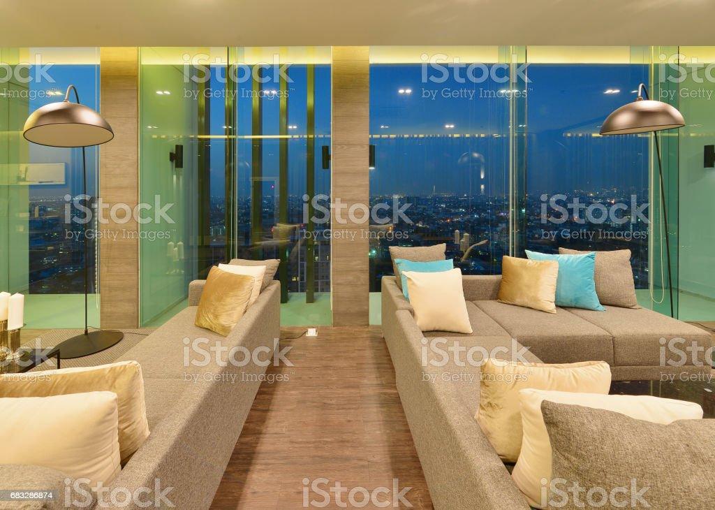 luxury modern living room interior and decoration at night, interior...