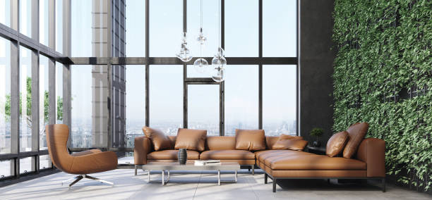 Luxury modern living room interior with panoramic windows Luxury modern living room interior with panoramic windows, 3d render penthouse stock pictures, royalty-free photos & images