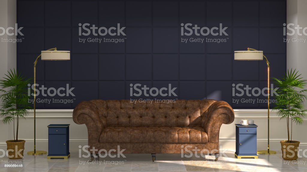 luxury modern living room leather sofa In front of blue wall white lamp and sideboard 3d rendering Vintage empty blue wall modern mid Century room interior stock photo