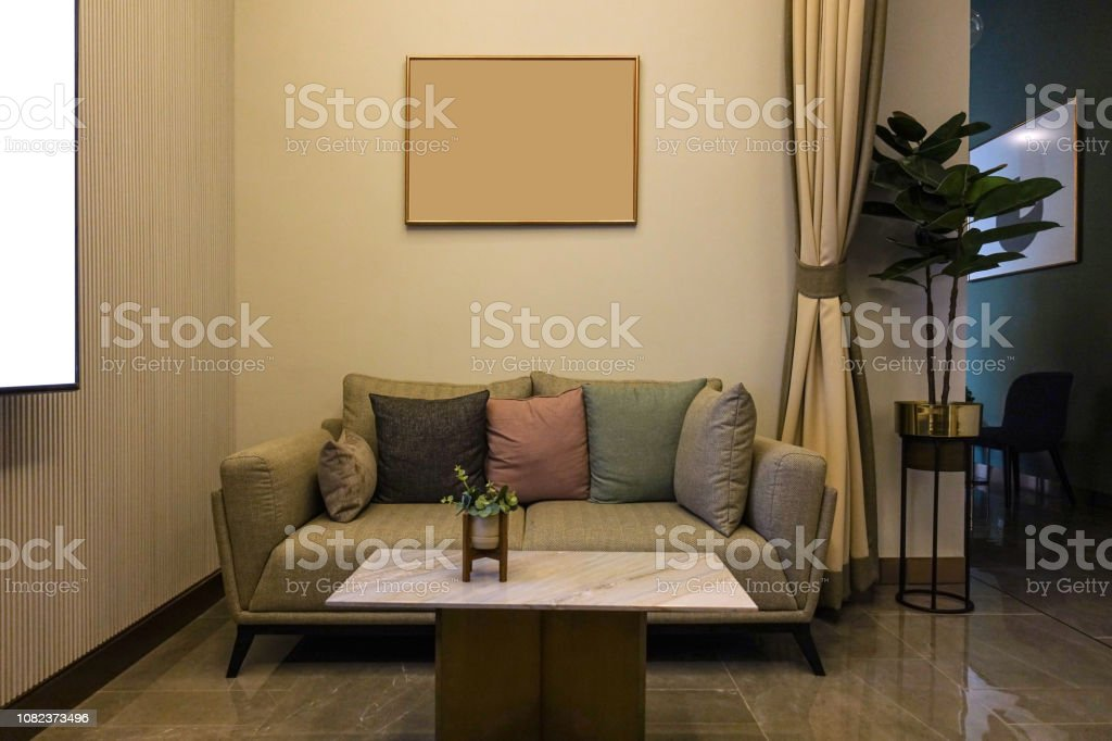 Luxury modern living room with furniture, picture frame, sofa...