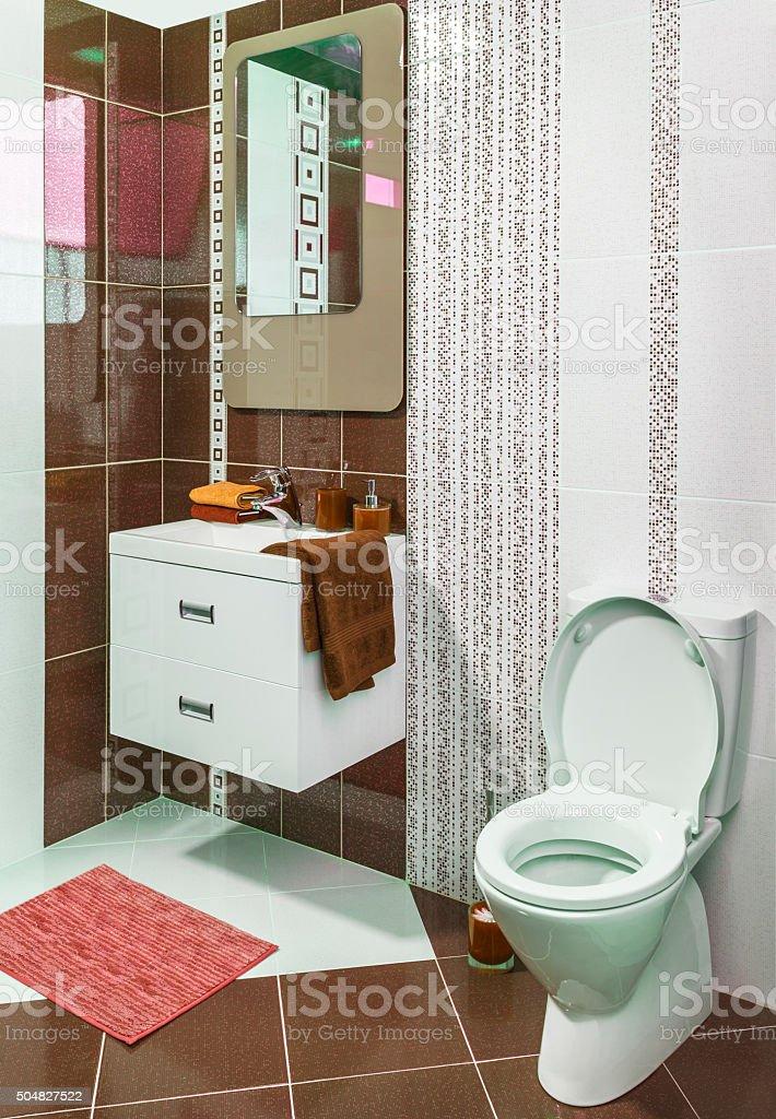 Luxus Modernen Stil Eingerichtete Badezimmer Mit Braun Fliesen ...