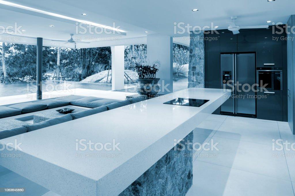 Luxuriöse Moderne Villa Küche Home Interior Stockfoto und ...
